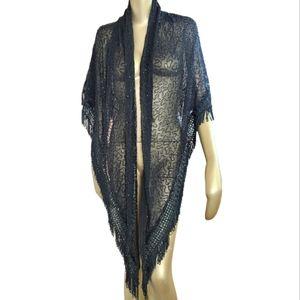 SCALA Vintage Heavily Beaded Shawl Wrap